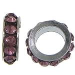Strass Zwischenstück, Zinklegierung, Rondell, Platinfarbe platiniert, mit Strass, violett, frei von Nickel, Blei & Kadmium, 3x8mm, Bohrung:ca. 5mm, 200PCs/Menge, verkauft von Menge