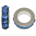 Strass Zwischenstück, Zinklegierung, Rondell, Platinfarbe platiniert, mit Strass, blau, frei von Nickel, Blei & Kadmium, 3x8mm, Bohrung:ca. 5mm, 200PCs/Menge, verkauft von Menge