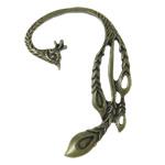 Moderne Ohr Manschette, Zinklegierung, Edelstahl Stecker, Pfau, antike Bronzefarbe plattiert, frei von Nickel, Blei & Kadmium, 36x52x2mm, 12PCs/Tasche, verkauft von Tasche