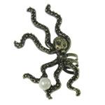 Moderne Ohr Manschette, Zinklegierung, mit Glasperlen, Edelstahl Stecker, antike Bronzefarbe plattiert, frei von Nickel, Blei & Kadmium, 32x55x7mm, 12PCs/Tasche, verkauft von Tasche