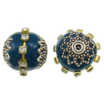 Indonesien Perlen, mit Messing & Zinklegierung, Trommel, plattiert, mit Strass, schwarzblau, 17x15.5mm, Bohrung:ca. 1mm, 100PCs/Tasche, verkauft von Tasche