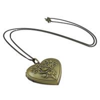 Messing Halskette, Herz, antike Bronzefarbe plattiert, gebürstet, frei von Nickel, Blei & Kadmium, 29x29x7.5mm, 1.2mm, Innendurchmesser:ca. 21x17mm, Länge:ca. 18 ZollInch, 100SträngeStrang/Menge, verkauft von Menge