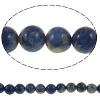 Sodalith Perlen, Sosalith, rund, natürlich, Grade A, 10mm, Bohrung:ca. 1mm, Länge:ca. 15 ZollInch, 5SträngeStrang/Menge, ca. 37PCs/Strang, verkauft von Menge