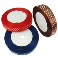 Satinband, mit Muster von runden Punkten & einzelseitig, gemischte Farben, 15mm, 10PCs/Menge, 22m/PC, verkauft von Menge