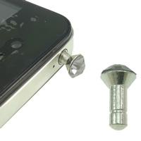 Kopfhöreranschluss Staubschutz-Stöpsel, Zinklegierung, Platinfarbe platiniert, mit Strass, frei von Nickel, Blei & Kadmium, 7x14.5mm, 10PCs/Tasche, verkauft von Tasche