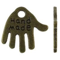 Zinklegierung Hand Anhänger, antike Bronzefarbe plattiert, mit Brief Muster, frei von Nickel, Blei & Kadmium, 13x13x1mm, Bohrung:ca. 2mm, ca. 2000PCs/kg, verkauft von kg