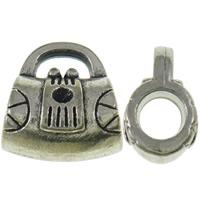 Zinklegierung Perlen Einstellung, Handtasche, antik silberfarben plattiert, frei von Nickel, Blei & Kadmium, 12x13x8mm, Bohrung:ca. 4x2mm, ca. 400PCs/kg, verkauft von kg