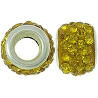 Strass Perlen European Stil, Ton, Trommel, Platinfarbe platiniert, Messing-Dual-Core ohne troll & mit Strass, gelb, 8x12mm, Bohrung:ca. 4.5mm, 30PCs/Tasche, verkauft von Tasche