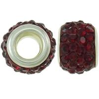 Strass Perlen European Stil, Ton, Trommel, Platinfarbe platiniert, Messing-Dual-Core ohne troll & mit Strass, rot, 8x12mm, Bohrung:ca. 4.5mm, 30PCs/Tasche, verkauft von Tasche