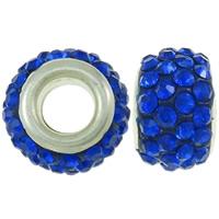 Strass Perlen European Stil, Ton, Trommel, Platinfarbe platiniert, Messing-Dual-Core ohne troll & mit Strass, blau, 8x12mm, Bohrung:ca. 4.5mm, 30PCs/Tasche, verkauft von Tasche