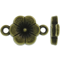 Blume Zinklegierung Schmuckverbinder, antike Bronzefarbe plattiert, 1/1-Schleife, frei von Nickel, Blei & Kadmium, 11x17x2mm, Bohrung:ca. 1.5mm, ca. 1420PCs/kg, verkauft von kg