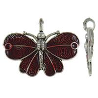 Zinklegierung Tier Anhänger, Schmetterling, antik silberfarben plattiert, Emaille, rot, frei von Blei & Kadmium, 41x32x6.50mm, Bohrung:ca. 3.5x5mm, 10PCs/Tasche, verkauft von Tasche