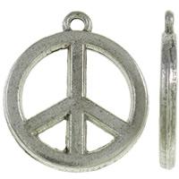 Zinklegierung Frieden Anhänger, Frieden Logo, antik silberfarben plattiert, frei von Nickel, Blei & Kadmium, 17.50x20x2mm, Bohrung:ca. 1.5mm, ca. 550PCs/kg, verkauft von kg