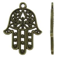Zinklegierung Hamsa Anhänger, antike Bronzefarbe plattiert, Jewelry Giúdach & Islam Schmuck, frei von Nickel, Blei & Kadmium, 22x30x2mm, Bohrung:ca. 1.5mm, ca. 450PCs/kg, verkauft von kg