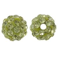 Strass Ton befestigte Perlen, rund, mit Strass, hellgrün, 8mm, Bohrung:ca. 1mm, 100PCs/Tasche, verkauft von Tasche