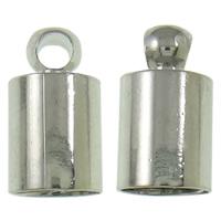 Messing Endkappe, Platinfarbe platiniert, frei von Nickel, Blei & Kadmium, 5x10mm, Bohrung:ca. 2mm, 1000PCs/Tasche, verkauft von Tasche