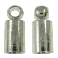 Messing Endkappe, Platinfarbe platiniert, frei von Nickel, Blei & Kadmium, 3.5x8mm, Bohrung:ca. 1mm, 1000PCs/Tasche, verkauft von Tasche
