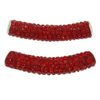 Strass Messing Perlen, Ton, mit Messing, Rohr, Platinfarbe platiniert, mit Strass, Hyazinth, frei von Nickel, Blei & Kadmium, 10x48mm, Bohrung:ca. 4mm, 10PCs/Tasche, verkauft von Tasche