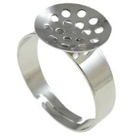 Eisen Sieb Ring Basis, Platinfarbe platiniert, frei von Nickel, Blei & Kadmium, 19x12x21mm, Bohrung:ca. 2-2.5mm, Größe:8, 400PCs/Tasche, verkauft von Tasche