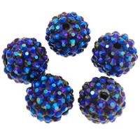 Harz Strass Perlen, Trommel, AB Farben platiniert, Hyazinth, 16x18mm, Bohrung:ca. 2.5mm, 100PCs/Tasche, verkauft von Tasche