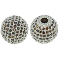 Befestigte Zirkonia Perlen, Messing, rund, Platinfarbe platiniert, Micro pave Zirkonia, frei von Nickel, Blei & Kadmium, 10mm, Bohrung:ca. 2mm, verkauft von PC