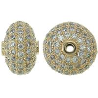 Befestigte Zirkonia Perlen, Messing, Rondell, Rósegold-Farbe plattiert, Micro pave Zirkonia, frei von Nickel, Blei & Kadmium, 12x8mm, Bohrung:ca. 1mm, verkauft von PC