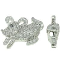 Befestigte Zirkonia Perlen, Messing, Hase, Platinfarbe platiniert, Micro pave Zirkonia & hohl, frei von Nickel, Blei & Kadmium, 18x14x6mm, Bohrung:ca. 2mm, verkauft von PC