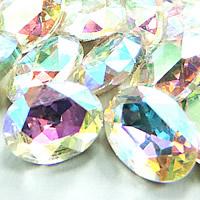 Kristall Eisen auf Nagelkopf, oval, silberfarben plattiert, Rivoli-Rückseite & facettierte, Crystal Clear, 20x30mm, 48PCs/Tasche, verkauft von Tasche