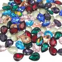 Kristall Eisen auf Nagelkopf, Tropfen, silberfarben plattiert, facettierte, gemischte Farben, 13x18mm, 144PCs/Tasche, verkauft von Tasche