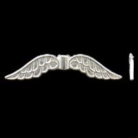 Zinklegierung Tier Perlen, Flügelform, silberfarben plattiert, frei von Nickel, Blei & Kadmium, 32x7x3mm, Bohrung:ca. 1.5mm, ca. 905PCs/kg, verkauft von kg
