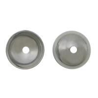 Edelstahl Perle Kappe, 304 Edelstahl, Dom, originale Farbe, 5x1.80mm, Bohrung:ca. 0.8mm, 2000PCs/Menge, verkauft von Menge