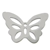 Edelstahl Tieranhänger, 304 Edelstahl, Schmetterling, originale Farbe, 20x14x0.80mm, Bohrung:ca. 1mm, 100PCs/Menge, verkauft von Menge