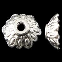 Zinklegierung Perlenkappe, Blume, hell silberfarben plattiert, frei von Nickel, Blei & Kadmium, 8.5x3mm, Bohrung:ca. 1.5mm, ca. 2500PCs/kg, verkauft von kg