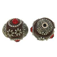 Indonesien Perlen, mit Zinklegierung, antik silberfarben plattiert, mit Strass, frei von Nickel, Blei & Kadmium, 15x16x16mm, Bohrung:ca. 2mm, 100PCs/Tasche, verkauft von Tasche