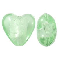 Silberfolie Lampwork Perlen, Herz, handgemacht, hellgrün, 15x15x10mm, Bohrung:ca. 2mm, 100PCs/Tasche, verkauft von Tasche