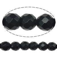 Schwarze Stein Perlen, schwarzer Stein, rund, facettierte, 6mm, Bohrung:ca. 0.8mm, Länge:ca. 15 ZollInch, 10SträngeStrang/Menge, ca. 60PCs/Strang, verkauft von Menge