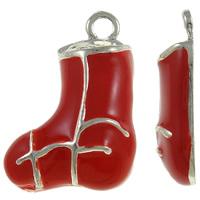 Zinklegierung Weihnachten Anhänger, Weihnachtssocke, silberfarben plattiert, Emaille, rot, frei von Nickel, Blei & Kadmium, 14x20x4mm, Bohrung:ca. 1.5mm, 10PCs/Tasche, verkauft von Tasche