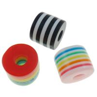 Gestreifte Harz Perlen, Zylinder, Streifen, gemischte Farben, 8x8.5mm, Bohrung:ca. 4mm, 1000PCs/Tasche, verkauft von Tasche