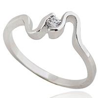 Gets® Finger Ring, Messing, platiniert, mit kubischem Zirkonia, frei von Nickel, Blei & Kadmium, 5mm, Größe:5, verkauft von PC