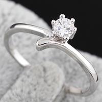 Gets® Finger Ring, Messing, platiniert, mit kubischem Zirkonia, frei von Nickel, Blei & Kadmium, 4mm, Größe:7.5, verkauft von PC