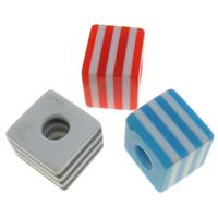 Gestreifte Harz Perlen, Würfel, Streifen, gemischte Farben, 8x7x8mm, Bohrung:ca. 2mm, 1000PCs/Tasche, verkauft von Tasche