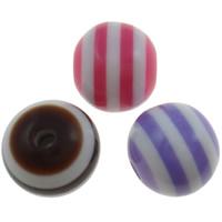 Harz Evil Eye Perlen, rund, Streifen, gemischte Farben, 8mm, Bohrung:ca. 2mm, 1000PCs/Tasche, verkauft von Tasche