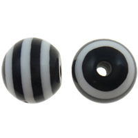 Gestreifte Harz Perlen, rund, Streifen, schwarz, 10mm, Bohrung:ca. 2mm, 1000PCs/Tasche, verkauft von Tasche