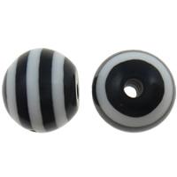 Gestreifte Harz Perlen, rund, Streifen, schwarz, 12mm, Bohrung:ca. 2mm, 1000PCs/Tasche, verkauft von Tasche