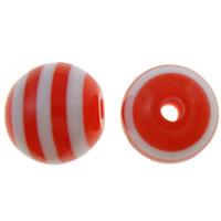 Gestreifte Harz Perlen, rund, Streifen, rot, 8mm, Bohrung:ca. 2mm, 1000PCs/Tasche, verkauft von Tasche