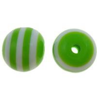 Gestreifte Harz Perlen, rund, Streifen, apfelgrün, 12mm, Bohrung:ca. 2mm, 1000PCs/Tasche, verkauft von Tasche