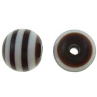 Gestreifte Harz Perlen, rund, Streifen, Kaffeefarbe, 8mm, Bohrung:ca. 2mm, 1000PCs/Tasche, verkauft von Tasche