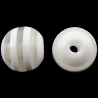 Gestreifte Harz Perlen, rund, Streifen, weiß, 12mm, Bohrung:ca. 2mm, 1000PCs/Tasche, verkauft von Tasche