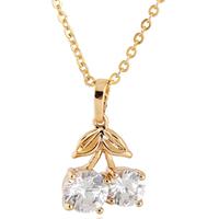 Gets® Schmuck Halskette, Messing, Kirsche, 18 K vergoldet, Oval-Kette & mit kubischem Zirkonia, frei von Nickel, Blei & Kadmium, 13x20mm, verkauft per ca. 18 ZollInch Strang