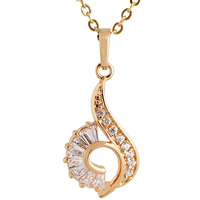 Gets® Schmuck Halskette, Messing, 18 K vergoldet, Oval-Kette & mit kubischem Zirkonia, frei von Nickel, Blei & Kadmium, 27mm, verkauft per ca. 18 ZollInch Strang
